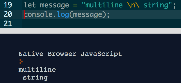 multiple line example before es6